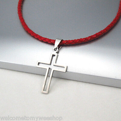 Silver Gothic Celtic Cross Stainless Steel Pendant Braided Red Leather Necklace