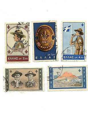 Boy Scouts -Greek 1963 Jamboree Complete Set of 5 Stamps SC 759-763