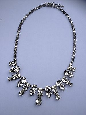 Vintage Deco Diamante Paste Sparkly Glass Necklace With safety Chain