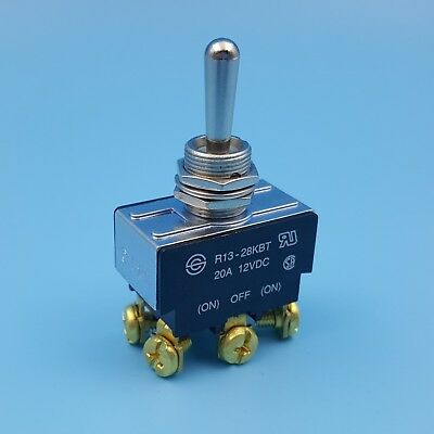 SCI R13-28KBT Metal Lever (ON)-OFF-(ON) DPDT Momentary Toggle Switch 20A/12VDC