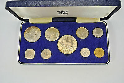 1966 Bahamas 9 Coin SILVER, NICKEL, BRONZE COIN Set  2.8721 Tr. Oz. Silver, COA