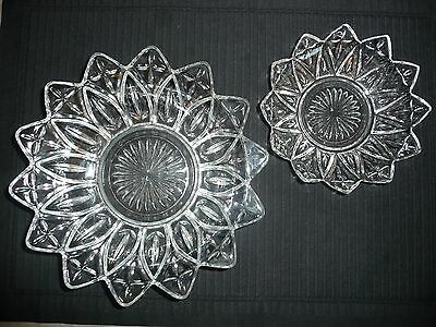 Set of 2 Vintage Bowls PETAL CLEAR by Federal Glass