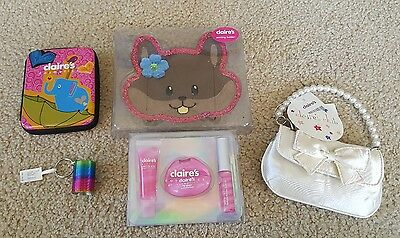 LOT Girl's Claire's Cosmetics Tin, Purse, Earring Holder & MORE ~NEW FREE SHIP!~