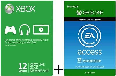 Xbox Live Gold 12 Month Membership + Xbox One EA Access 12 Month Subscription!!