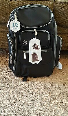 New J Is For Jeep Diaper Bag Black & Gray 12 Pockets Wipes Case Changing Pad