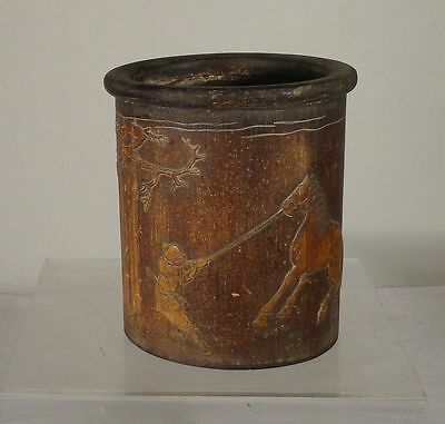 Antique Vintage Chinese Carved Bamboo Brushpot Bitong Horse Signed As Is