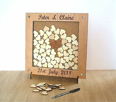 Personalised Wedding Drop Box Alternative Guest Book With Hearts & Stand 8u
