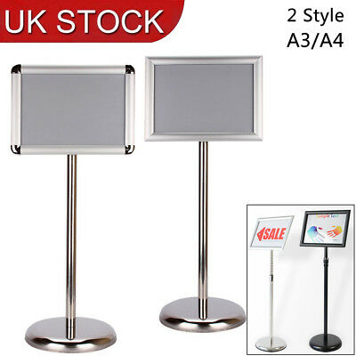 A3/A4 Floor Stand Poster Snap Frame Menu Holder Clip Board Telescopic Height UK