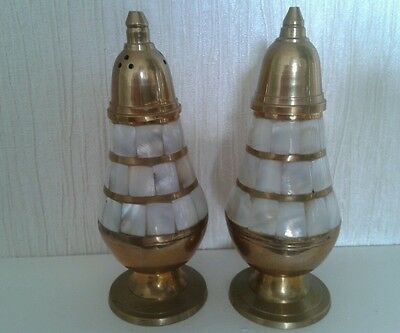 Vintage Pair of brass and mother of pearl salt and pepper pots