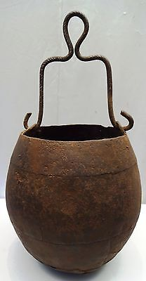 Antique Mughal Gunpowder Iron Bucket Vintage Artillery Military War Collectibles