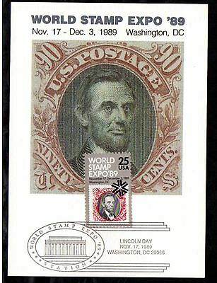 WORLD STAMP EXPO MAXCARD WITH LINCOLN STAMP ON STAMP THEME  a190.1