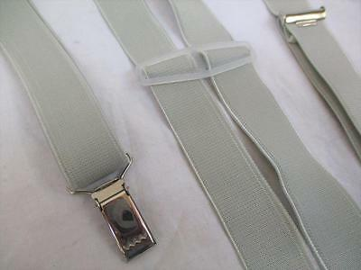 Vintage 70's Mens Braces Trouser Suspenders Plain Grey Silver Retro Mod Scooter