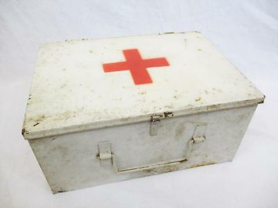 Vintage 1950's Metal First 1st Aid Kit Tin Box White With Red Cross Retro