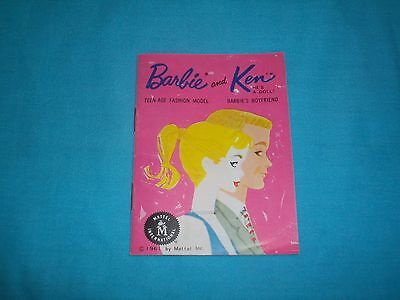 Vintage 1961 Barbie and Ken Pink Fashion Booklet w/insert