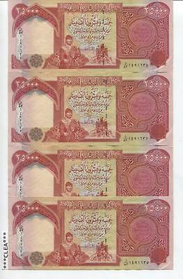 100,000 Iraqi Dinar 4 x 25,000 25000 Circulated Currency / USED Genuine IQD
