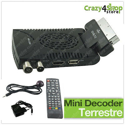 Decoder Mini Digitale Terrestre Scart Dvb-T2 180° Usb Hdmi Presa Scart Hd