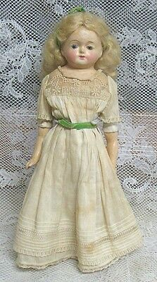Antique Composition Doll Stuffed Body Fixed Glass Eyes 13 Inches Blonde Hair