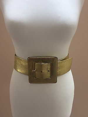Vintage Yves Saint Laurent Gold Leather Belt