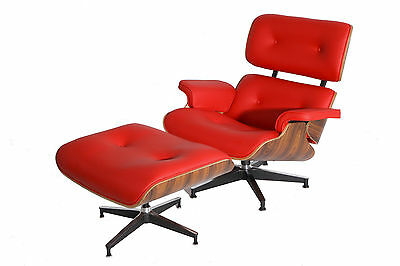 eMod Eames Style Lounge Chair & Ottoman Premium Reproduction Red Palisander