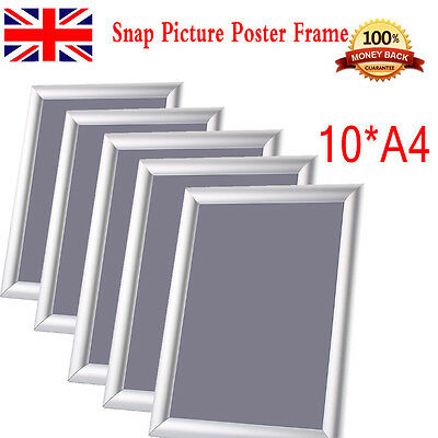 10 x A4 Snap Frame Picture Poster Holder Clip Display Wall Mounted Photo Frame A