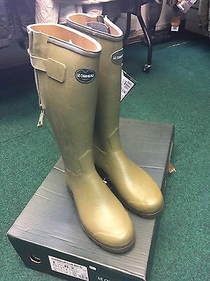 Le Chameau Chasseur Cuir Leather Lined Zip Welly - Size UK 9 EU 43 Calf 41cm