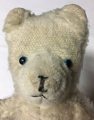 Vintage White Blue Eyes Mohair Teddy Bear No Rips Or Holes In Good Vtg Condition