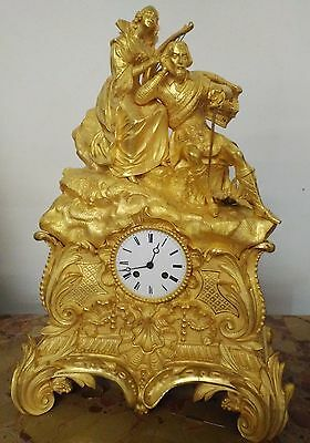 Large French fire gilt bronze dore antique mantel clock - early 19th century