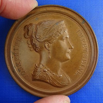 France, Empress Josephine, Copper Cliché uniface Medal by Andrieu, 1805. 67mm