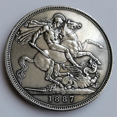 UK (Great Britain) Victoria Sterling Silver 1887 Crown Coin