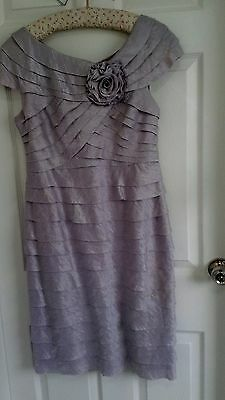 LADIES LAVENDER WEDDING OUTFIT (fits size 14) knee length dress, jacket & hat