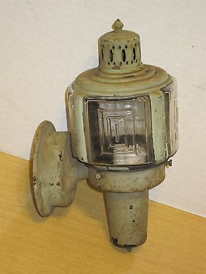 Vtg Art Deco Lantern Outdoor Wall Sconce Lamp Light Fixture Etched Square Glass