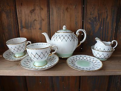 Stunning Tuscan Tea Pot Set for Two - Complete - Hand Painted Harlequin Design