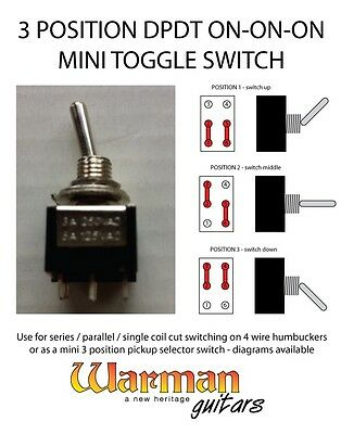 DPDT 3 position on-on-on mini toggle guitar switch