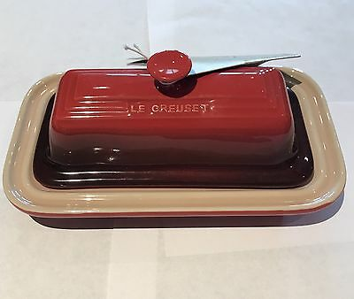 Le Creuset Butter Dish 71/4 Inch Cerise(deep Red) New With Tags