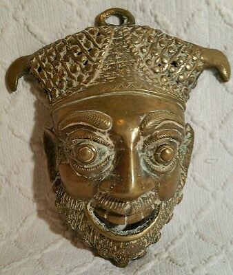 Old Cameroonian Tribal Tikar Bronze Face Mask