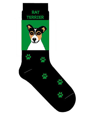 Rat Terrier Socks Lightweight Cotton Crew Stretch Green