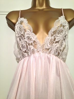 Vintage Ultra Girlie Shiny Nylon Lacy Slip Dress Nightie Medium Uk 12-14