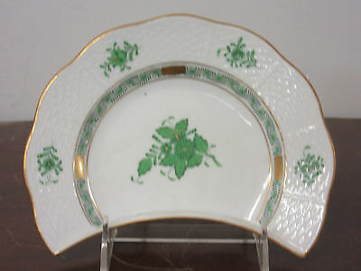 Herend Chinese Bouquet Green hand painted china 1-crescent salad plate new