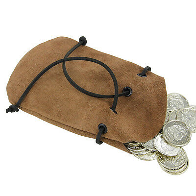 Medieval Suede Handful of Shillings Coin Purse Drawstring Renaissance Pouch