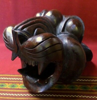 "Huge 13"" Mexican Folk Art Guerrero Carved Wood Jaguar Head Mask Wall Hanging"