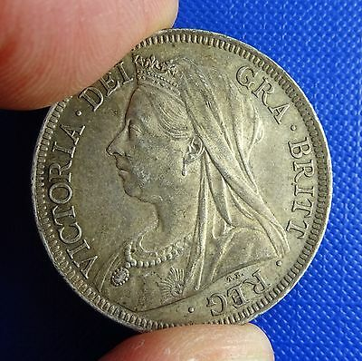 Victoria,  Halfcrown, 1900. Very Good Grade. Toned with Hints of Iridescence.