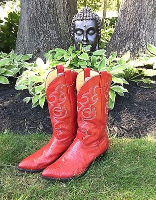 Men's NOCONA Lizard Leather Cowboy Western Red Boots Size 10.5 D Style 2084  USA