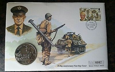ISLE OF MAN 1994 D DAY ANNIVERSARY 1 crown COIN COVER
