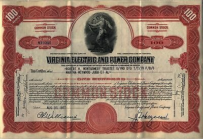 Virginia Electric & Power Company Stock Certificate Older