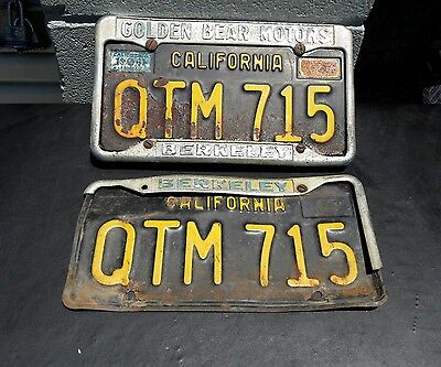 2 California 1963 BLACK LICENSE PLATES And Dealership Frame RARE FORD BREKELEY