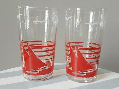 Vintage Swanky Swig Juice Glasses Tumbler Red White Sailboat Ship Lot of 2