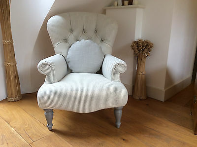Large Button Back Armchair Newly Upholstered in Laura Ashley Fabric