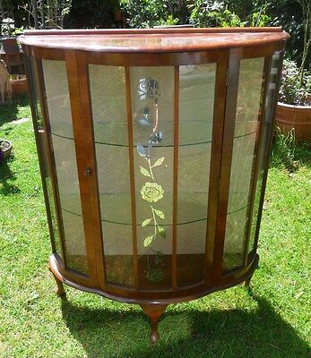 Barn Find Beautiful Art Deco Vintage Glass Display Cabinet With Key