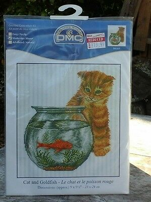 Dmc Counted Cross Stitch Kit . Cat And Goldfish .brand New Sealed