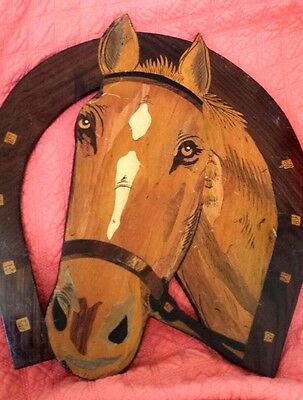 hand carved /painted cutout wood horse shoe folk art plaque 14.5inX15.5inX3/8in.